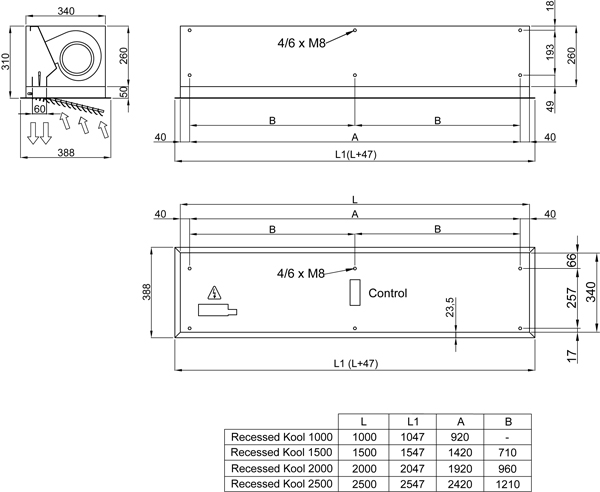 Recessed Kool Air Curtain dimensions